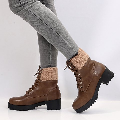 Chunky Heel Solid Fall Daily Boots