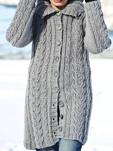 Long Sleeve Basic Knitted Outerwear