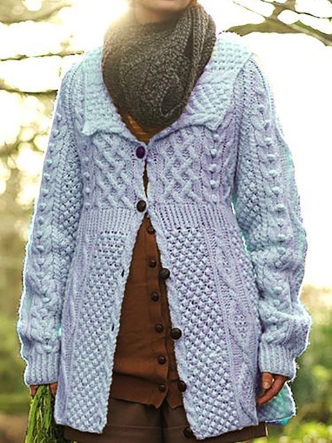 Plain Long Sleeve Shawl Collar Knitted Outerwear