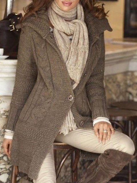 Cotton-Blend Casual Knitted Outerwear