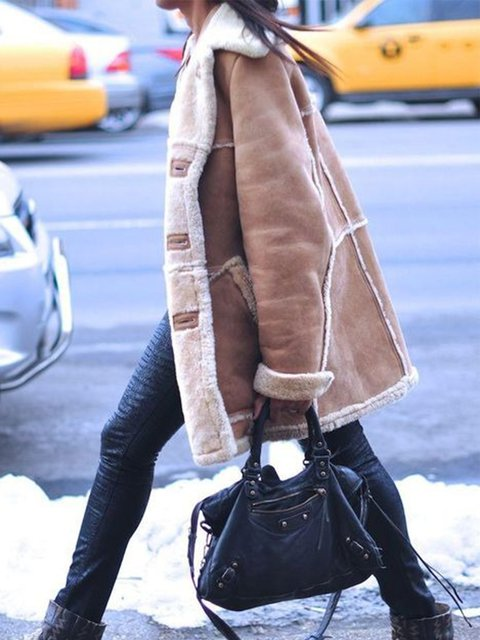 Plus Size Long Sleeve Plain Plush Casual Outerwear