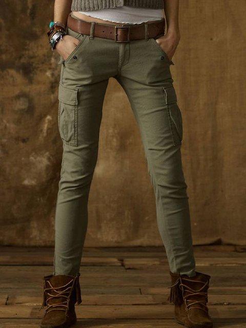 Plus Size Cotton-Blend Casual Solid Pants