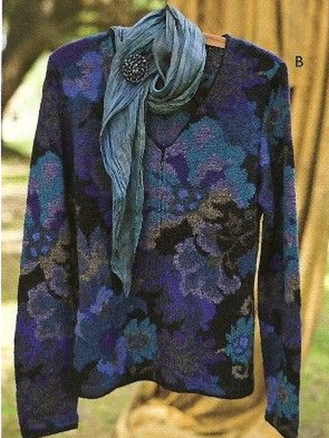 Printed Vintage V Neck Sweater