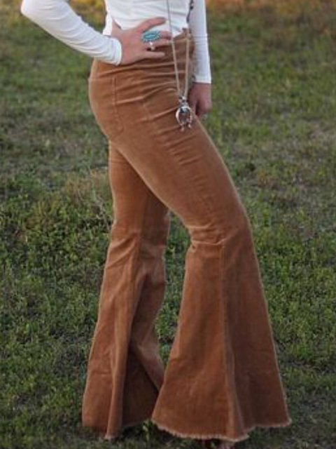 Brown Corduroy Casual Plain Pants