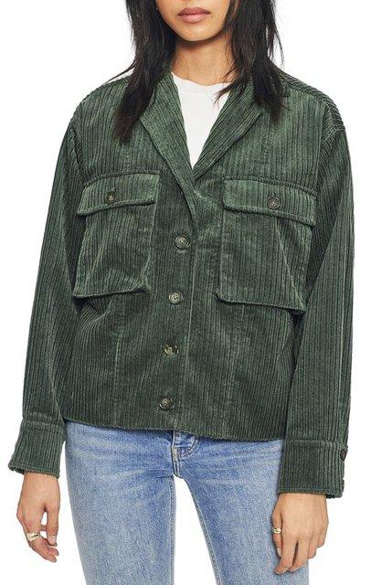 Army Green Plain Corduroy Casual Outerwear