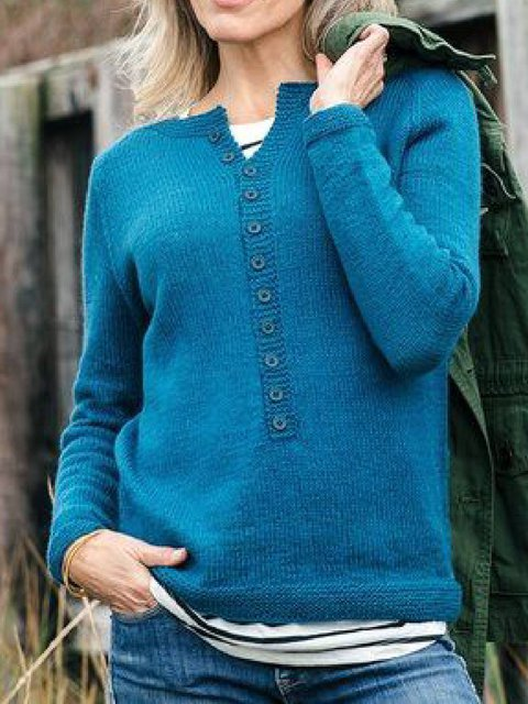 Blue Casual Cotton-Blend Sweater