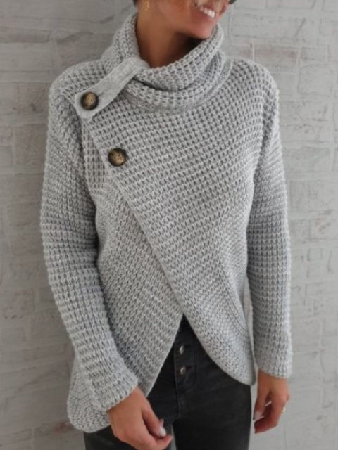 Shift Solid Casual Knitted Sweater