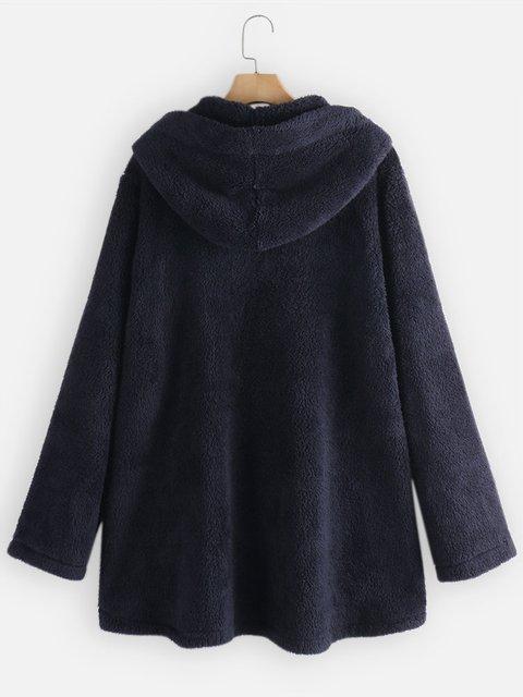 Casual Hoodie Faux Fur Outerwear
