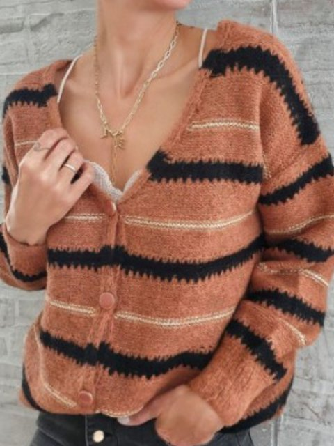 V Neck Casual Striped Shift Sweater