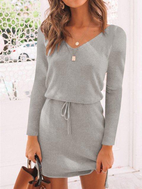 Casual Plus Size V Neck Long Sleeve Dresses