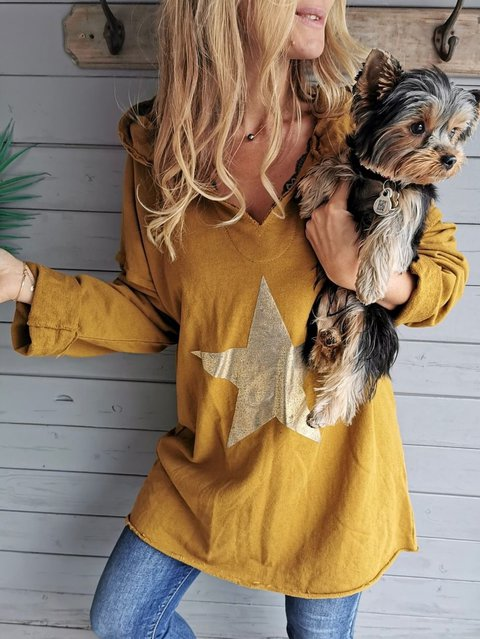 Yellow Cotton-Blend V Neck Long Sleeve Shirts & Tops