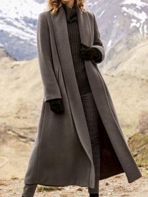 Long Sleeve Turn-Down Collar Cotton-Blend Outerwear