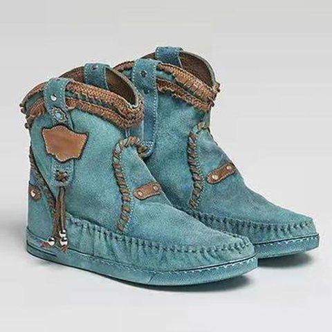 Blue Flat Heel Fall Split Joint Ankle Boots