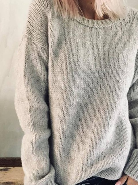 Cotton-Blend Plain Crew Neck Casual Shirts & Tops