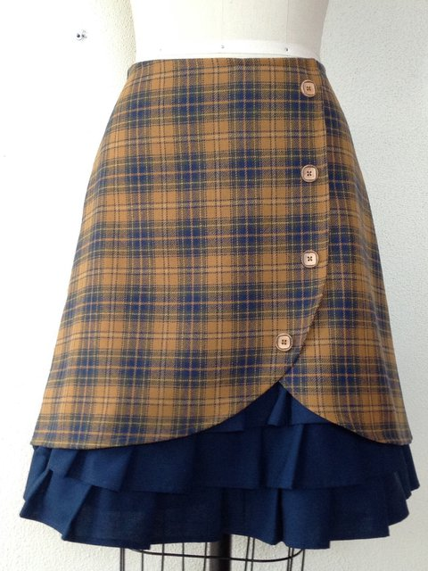Vintage Checkered/plaid Floral-Print Skirts