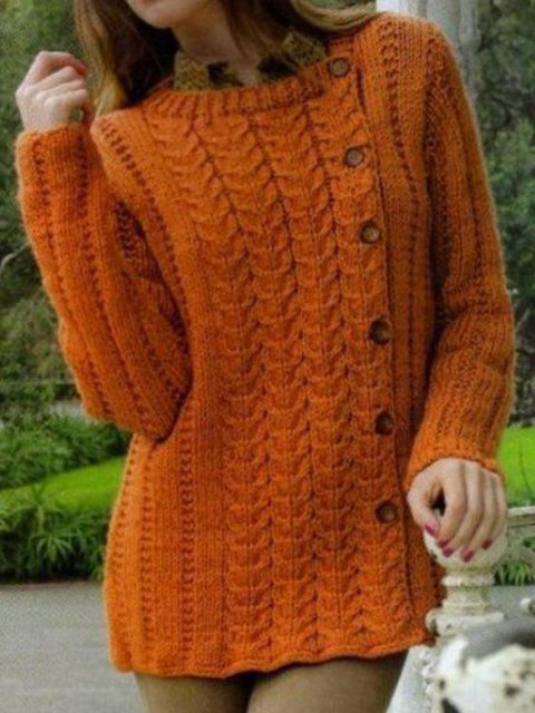 Knitted Long Sleeve Solid Crew Neck Sweater