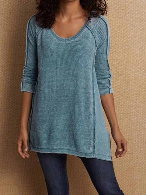Cotton Paneled V Neck Shirts & Tops