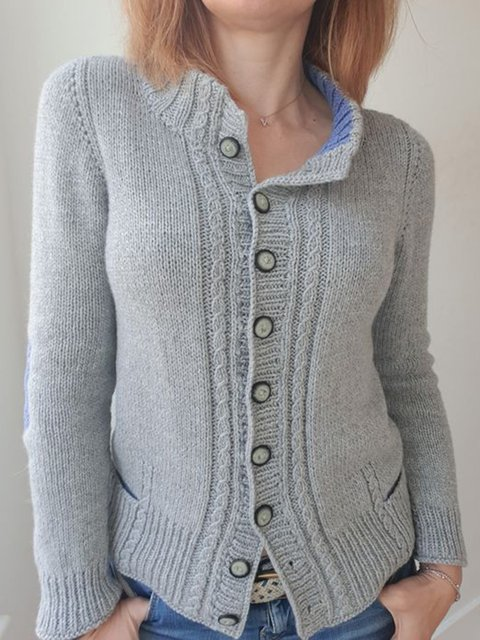 Knitted Long Sleeve Cotton Casual Solid Sweater