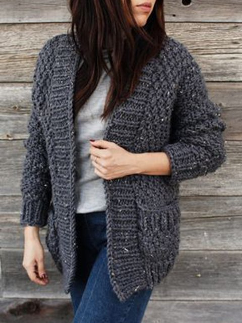 Knitted Cotton Long Sleeve Solid Pockets Sweater
