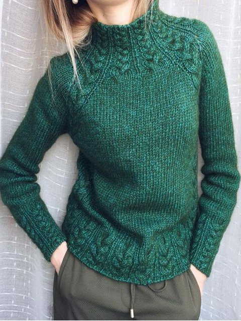 Deep Green Turtleneck Cotton-Blend Vintage Shirts & Tops