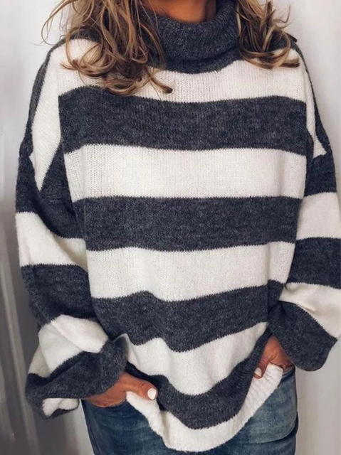 White Striped Long Sleeve Shirts & Tops
