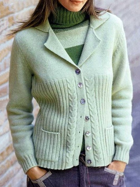 Knitted Casual Cotton Shawl Collar Long Sleeve Sweater