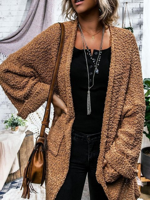 Women Pockets Solid Casual Cardigans