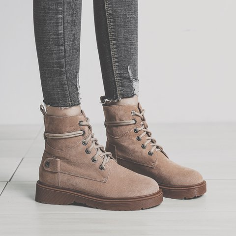 Women Fall Faux Suede Lace-Up Martin Boots