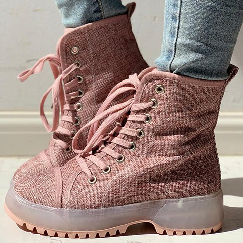 Women Round Toe Combat Boots All Season Lace-Up Flat Heel Shoes