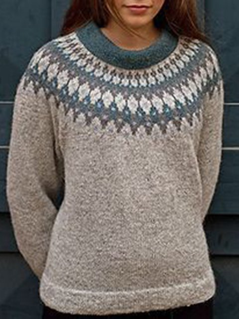 Jacquard Crew Neck Knitted Casual Sweater