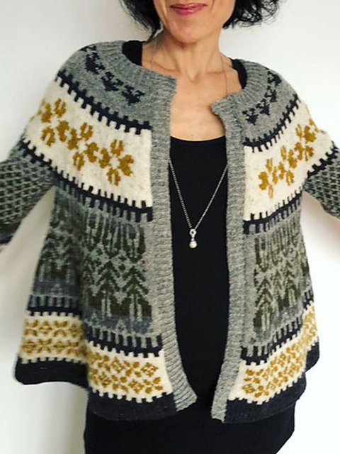Cotton Tribal Knitted Holiday Sweater