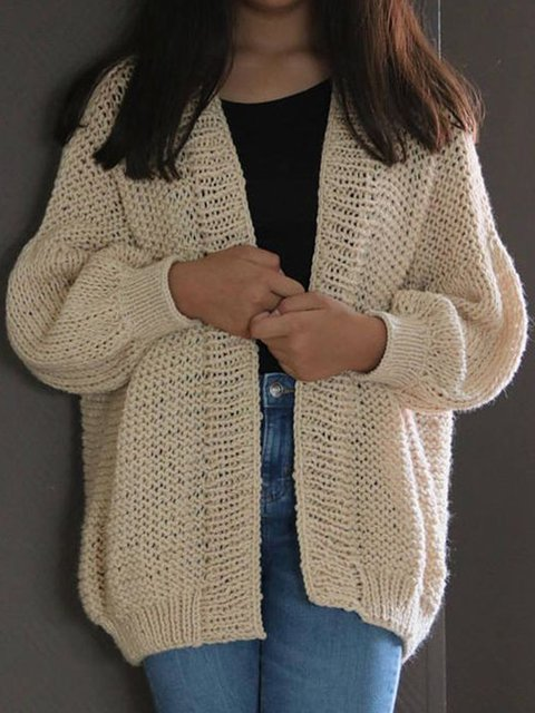 Solid Cotton Knitted Long Sleeve Sweater