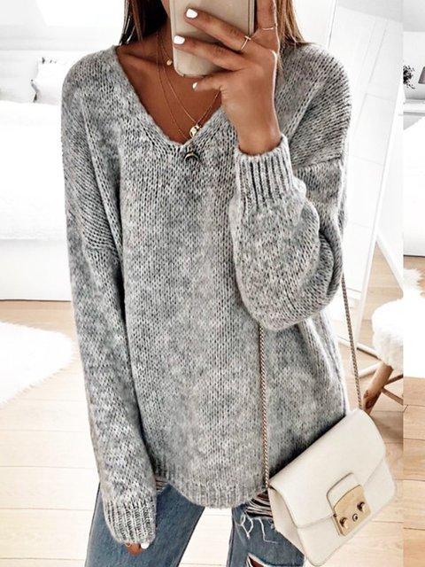 Vintage V Neck Long Sleeve Solid Sweater