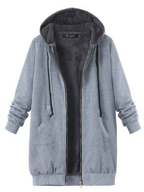 Light Gray Faux Fur Drawstring Casual Hoodie Outerwear