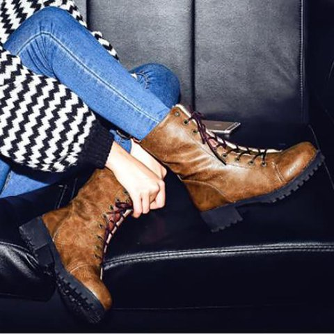 Women Round Toe Snow Boots Casual Pu Lace-Up Winter Shoes