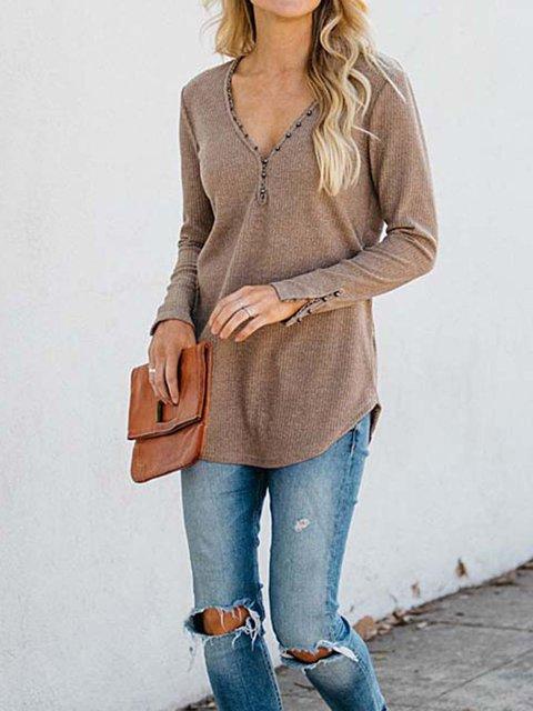 Casual Shift Long Sleeve Shirts & Tops