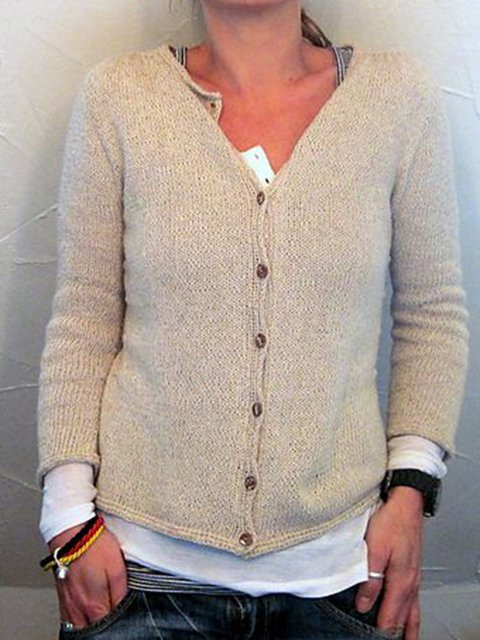 V Neck Long Sleeve Solid Knitted Sweater