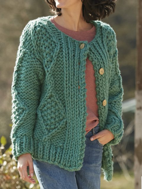 Green Knitted Vintage Crew Neck Solid Sweater