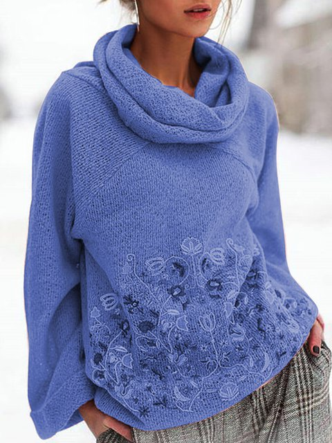 Floral Cowl Neck Sweater Plus Size Knit Tops