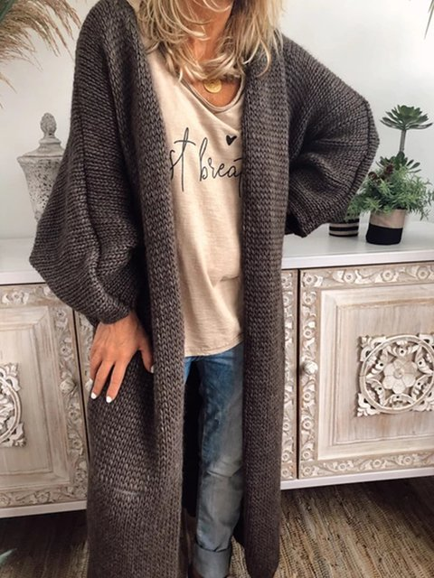Knitted Plain Casual Cardigans Outerwear