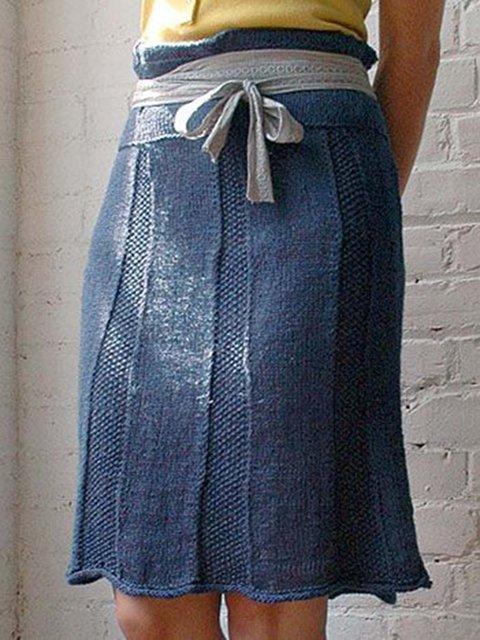 Knitted Plain Shift Vintage Skirts