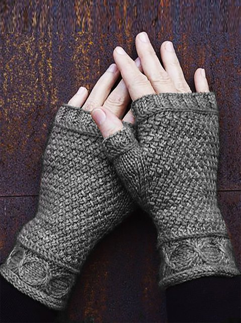 Tribal Knitted Simple & Basic Gloves & Mittens