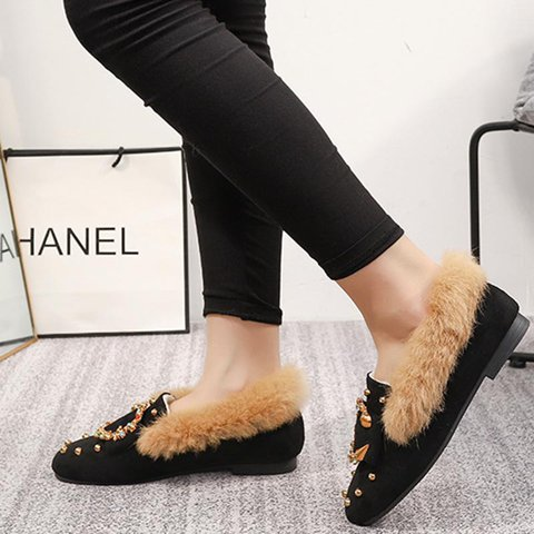Winter Low Heel Snow Boots Buckle Slip-On Warm Shoes