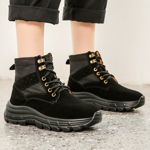 Womens Round Toe Lace-Up Boots Artificial Leather Shoes