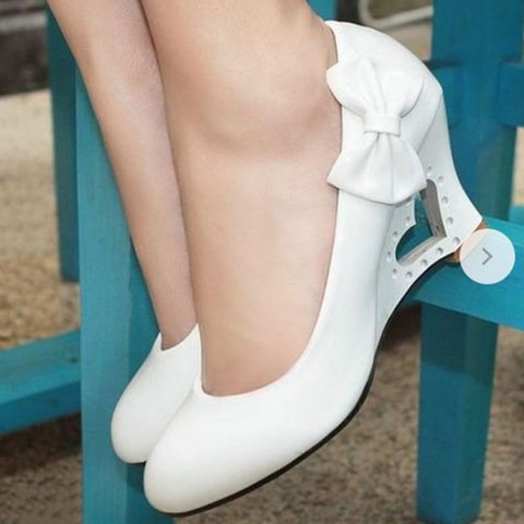 Wedge Heel Bowknot Loafers Heart Hollow Out Heel Fashion Shoes