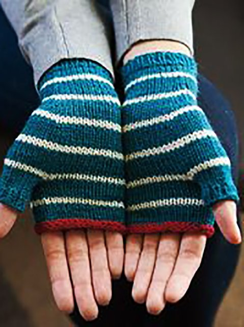 Stripes Simple & Basic Knitted Gloves & Mittens