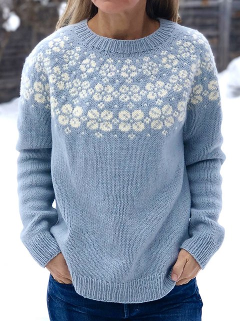 Vintage Knitted Floral Sweater Plus Size Tops