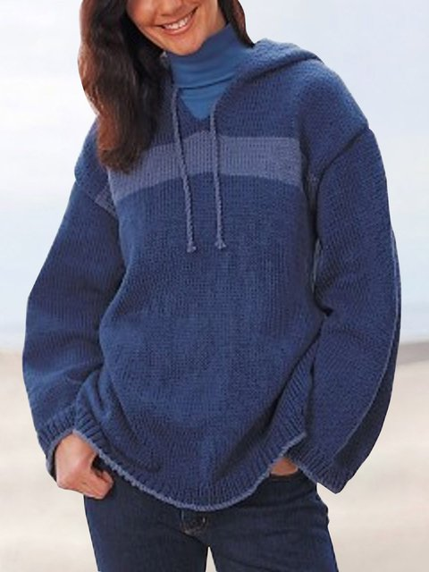 Hooded Solid Sweater Plus Size Knitted Tops