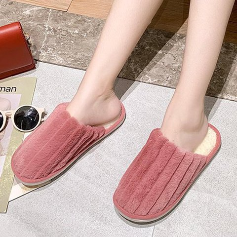 Womens Flat Heel Fur Winter Slippers Closed Toe Home Slippers