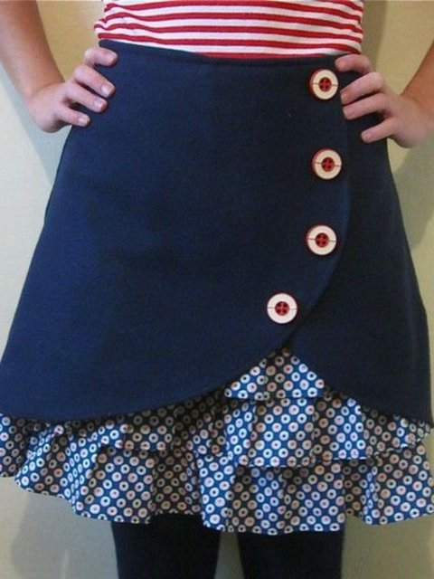 Solid Vintage Ruffled Casual Skirts